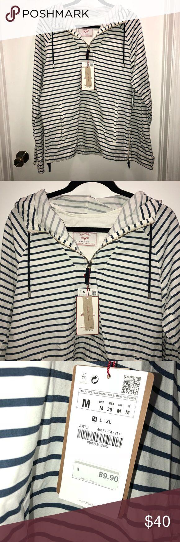 Zara man jacket Zara man denim couture jacket with hood  Navy striped  New with tags  Medium Zara Jackets & Coats