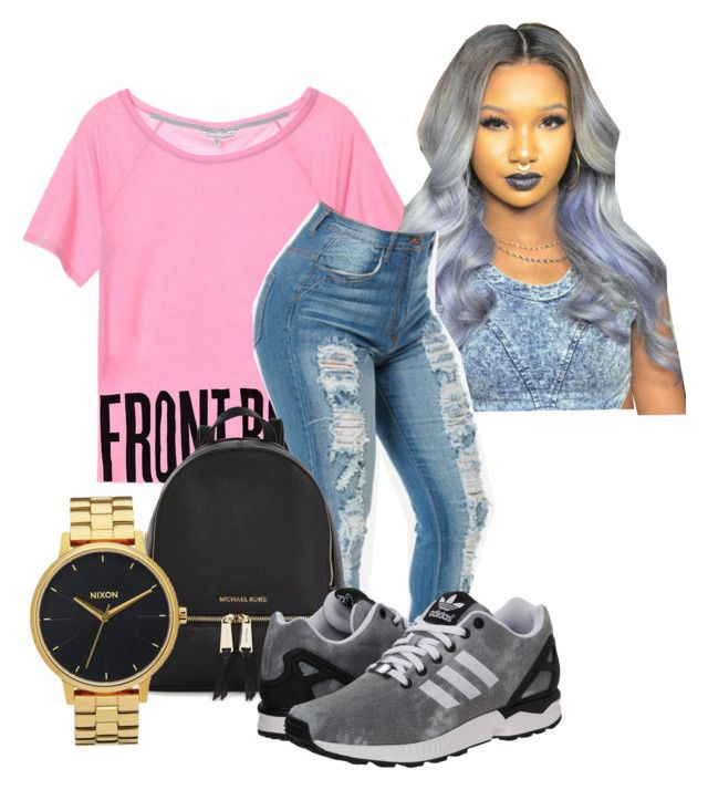 """""""Travis Scott concert """"Its Lit"""""""" by kittycupkake001 ❤ liked on Polyvore featuring Michael Kors, adidas Originals, Nixon, women's clothing, women's fashion, women, female, woman, misses and juniors"""