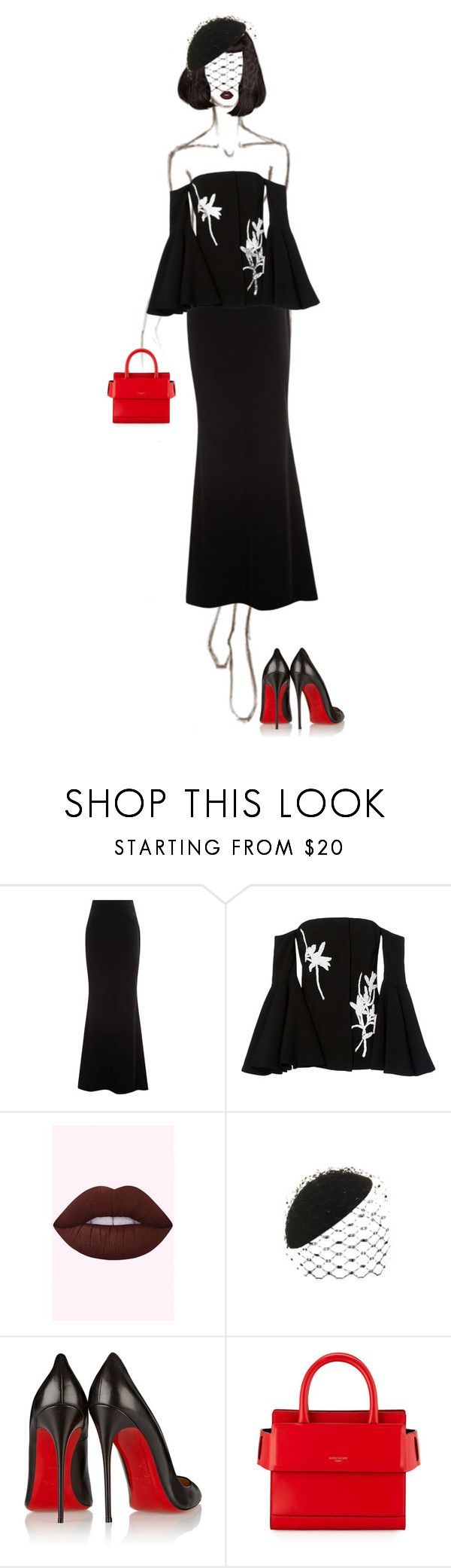 """""""Black Widow 🕷"""" by ladygagafashion ❤ liked on Polyvore featuring Talbot Runhof, SemSem, Philip Treacy, Christian Louboutin and Givenchy"""