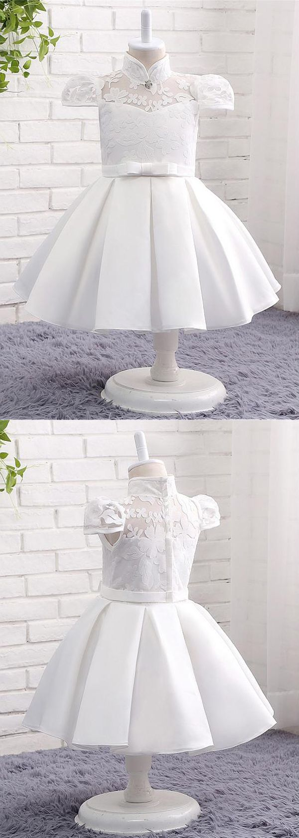 In Stock Modest Lace & Satin High Collar Neckline Ball Gown Flower Girl Dresses With Bowknot