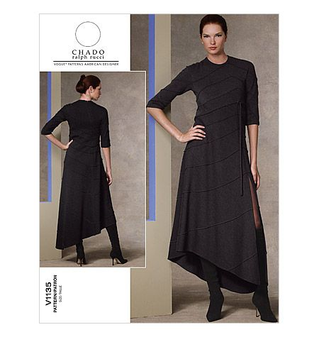 Misses' Dress  interesting seams for the cult compound monochromatic caftan