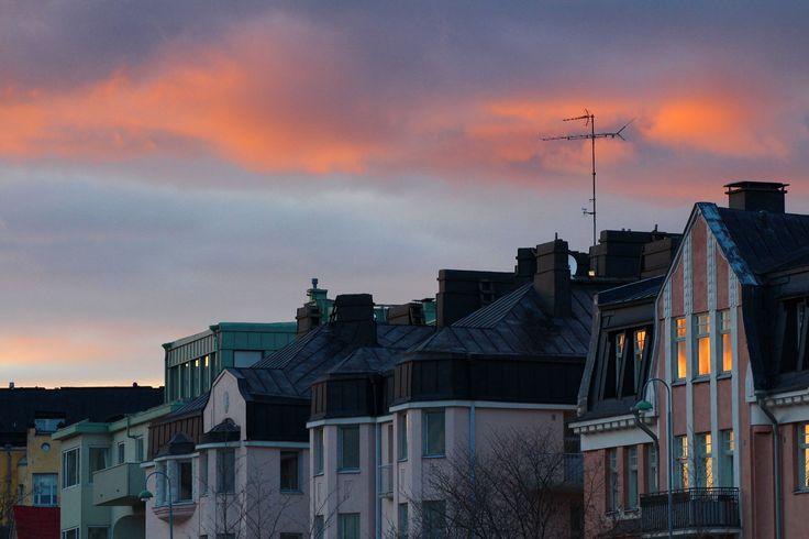 Evening in Eira, Helsinki after rain. Lovely architecture. #helsinki #finland #eira #sunset #spring