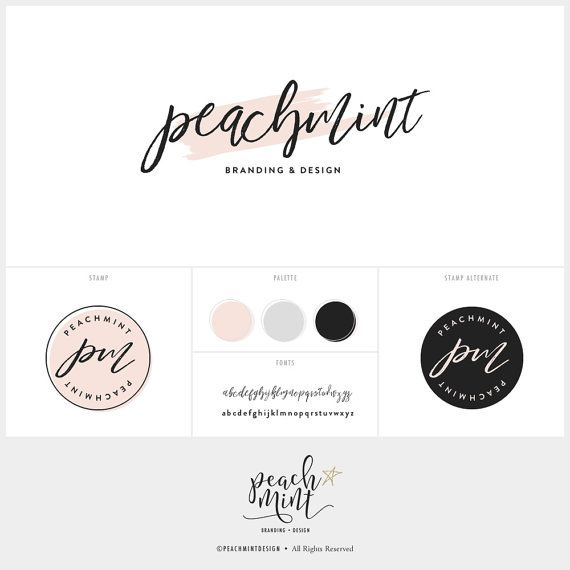 Premade Watercolor Logo Design & Branding Package Inc. Photography Watermark - Blog Header - Handwritten Style with Peach Pink Brush Stroke