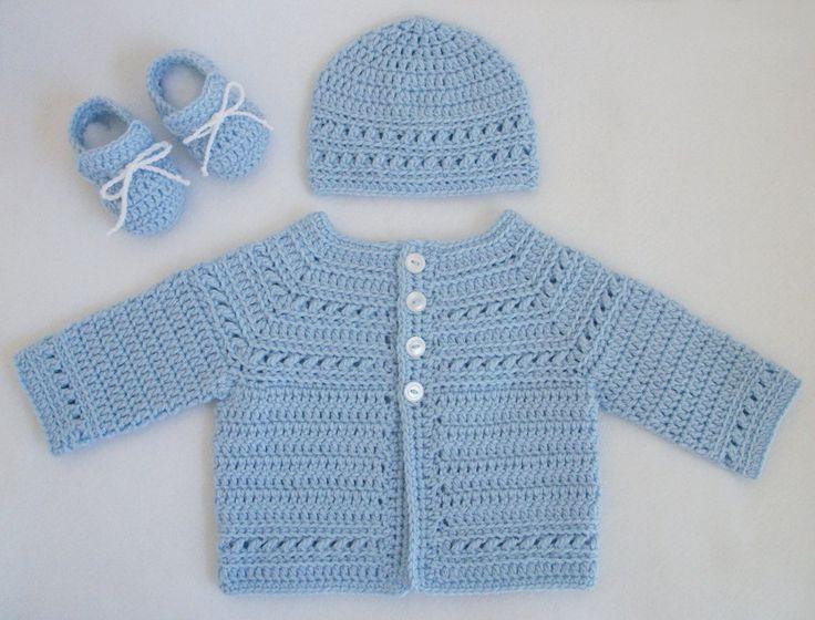 baby boy sweaters to.crochet | Crocheted Baby Boy Sweater/Hat/Booties Set in Pale Blue by R0SEDEW