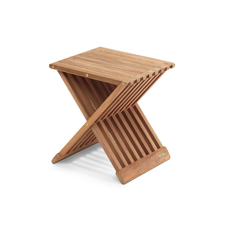 Danish design company Skagerak designs indoor and outdoor furniture with a nautical inspiration. Crafted from wood, the Fionia Folding Stool is a practical accent piece that can be used as a side table or, in a pinch, an extra place to sit. The stool is constructed with hinges so it is easy to fold and transport to a new location, or put away for storage when not in use. When unfolded, the Fionia Folding Stool is a three-dimensional X-shape that is defined by the airy recesses between the…