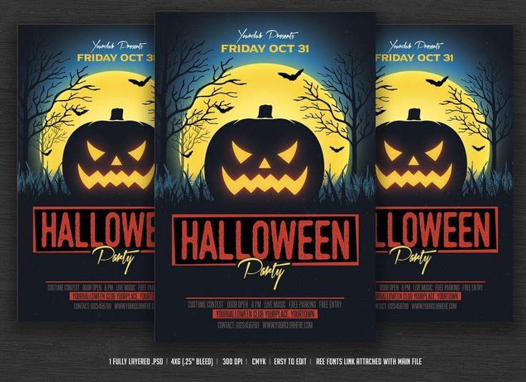 25 best 25+ Halloween Poster Flyer Template – PSD,Ai,Indesign,Word ...