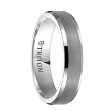 Triton Rings - CRESSIDA Women's Beveled White Tungsten Ring with Brush Finished Center - 5 mm