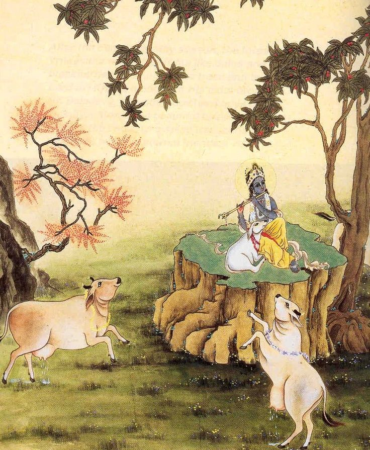 KRSHNA..Hindu God of compassion, tenderness and love. Here he is at peace with his cows.
