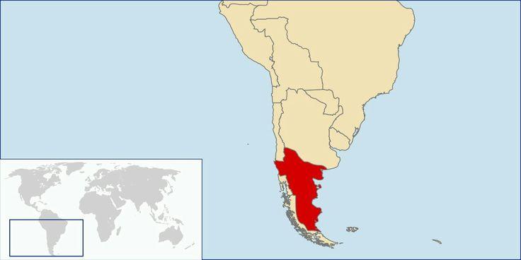 Mapa localizador del Reino de la Araucanía y la Patagonia (1860-1862 aprox.).   Este mapa solo representa una idea básica de la localización del territorio reclamado por este estado no reconocido, puesto que no existe certeza exacta de las zonas reclamadas por el supuesto reino. Los mapas de otros países tampoco son representaciones fidedignas de sus fronteras en la época.