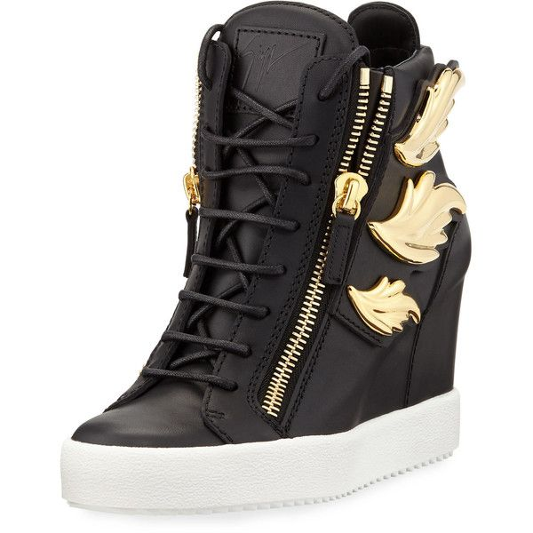 Giuseppe Zanotti Metallic Wing Leather High-Top Wedge Sneaker ($1,275) ❤ liked on Polyvore featuring shoes, sneakers, birel nero, shoes sneakers, metallic sneakers, wedge shoes, hi top wedge sneakers, wedge heel sneakers and platform shoes