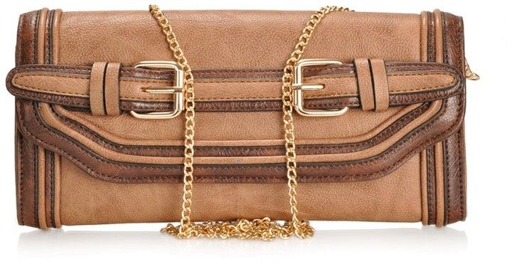 Melie Bianco Darla Clutch with belt buckles and chain on shopstyle.com.au