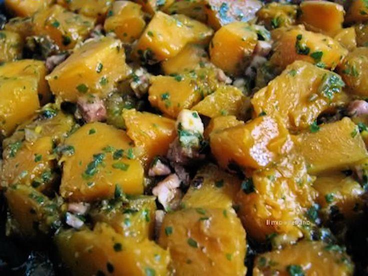 Zucca alla pancetta affumicata, ricetta di contorno