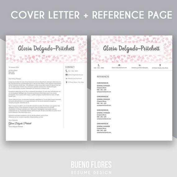 """Introducing """"Gloria Delgado-Pritchett"""" (pink version), an elegant feminine multipurpose design, which includes a two page resume/cv , reference page and cover letter. By Bueno Flores Design"""