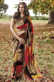 Laxmipati Georgette Casual Wear Abstract Printed Saree In Multicolour