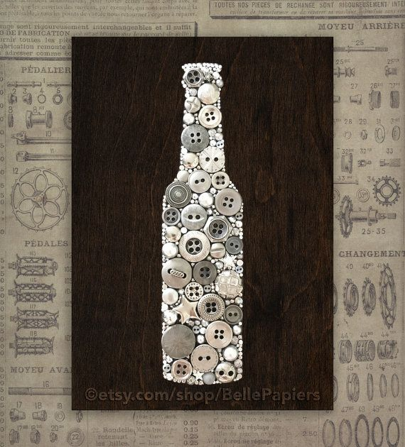Rustic Kitchen Signs | Fathers Day Gifts | Button Canvas | Mosaic| Junk Art | Button Picture Perfect for Dad and your favorite guy! This piece has ALL of the precision and quality and ZERO of the sparkle! Each Beer Bottle is 4.875 x 7.125 created on hand-cut, hand-sanded, and hand-stained wood using buttons, scrap metal, nail heads, and more! I use genuine high quality buttons, both new and vintage. I also use various embellishments to make your custom piece totally unique. My button art…