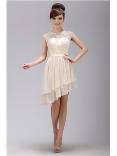 Brilliant A-Line Scoop Mini-Length Appliques Prom Dress