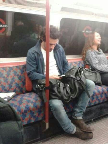 Aidan Turner on the London tube. This is one of my absolutely favourite photos of him.