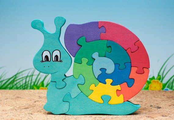 Toddler Kids Funny Wooden Blocks Snail Children Educational Puzzle Jigsaw Toys