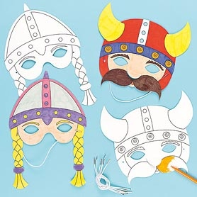 Dress up like a Viking with these fun masks! Pre-cut and pre-printed cardboard masks for children to colour with acrylic paint or fibre pens and then wear.