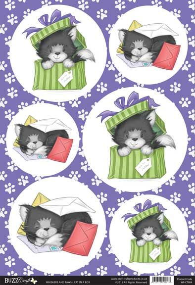 Buzzcraft Whiskers and Paws die cut toppers - Cat in a Box
