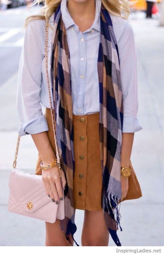 Blue shirt, brown skirt and nude bag   Inspiring Ladies