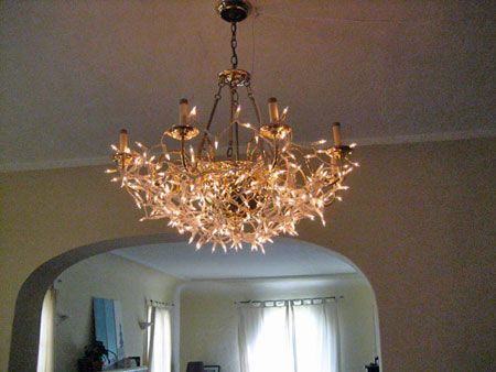 Must do this to the old, ugly brass chandalier in the dining room that I can't take down (we're renting and the ceilings are Soooo high!)