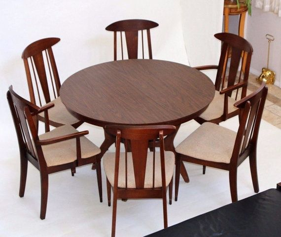 Love These Chairs Mica Top 2 Leaf Dining Table And 6 Atomic Era Walnut
