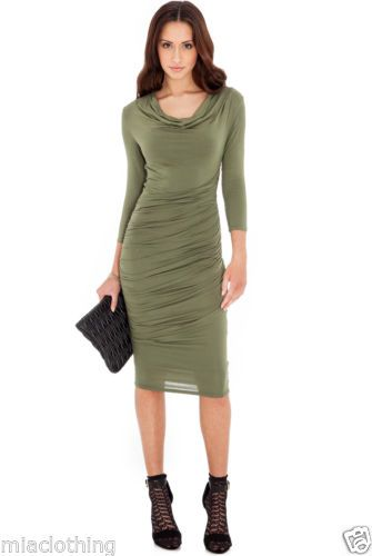 New-Beautiful-Ruched-Cowl-Neck-Dress-Size-8-to-14