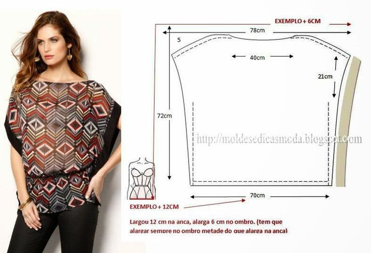 Tunic top with border on sides ~ (Pattern only. You need to have a working knowledge of pattern fitting and dress making as no other instructions are provided,)Templates Fashion by Measure