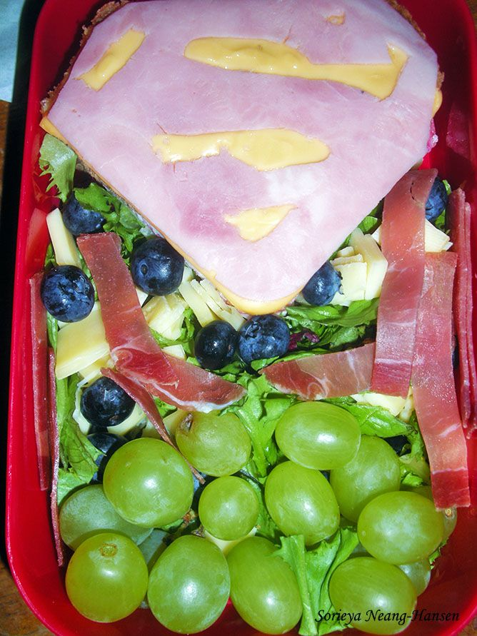 Superman logo sandwich. I had no salami so I used ham for the symbol.