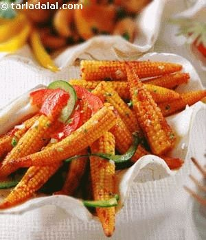 Spicy Stir Fried Baby Corn - http://www.tarladalal.com/Spicy-Stir-Fried-Baby-Corn-3521r