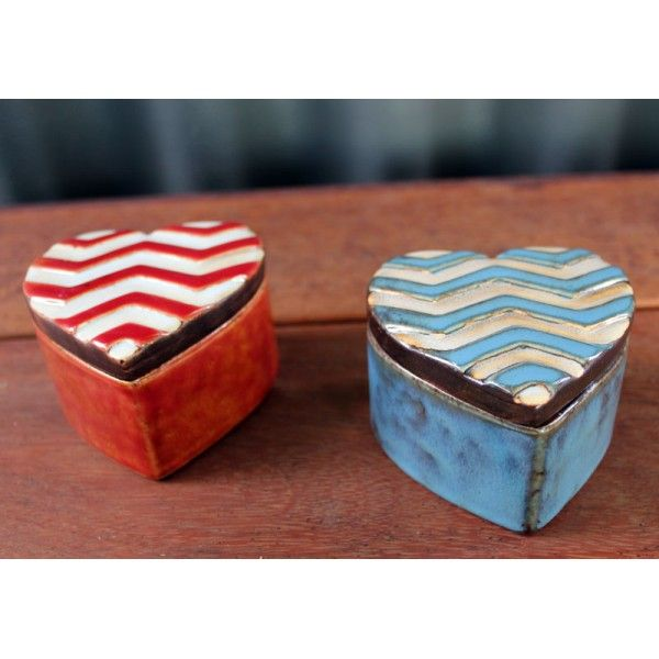 Chevron Trinket Box Red - Homewares Online