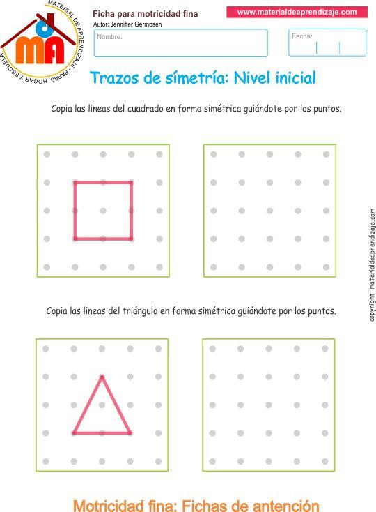 Trazos de simetría ejercicio 5: Copia las líneas del cuadrado y el triángulo de forma simétrica guiándote por los puntos.