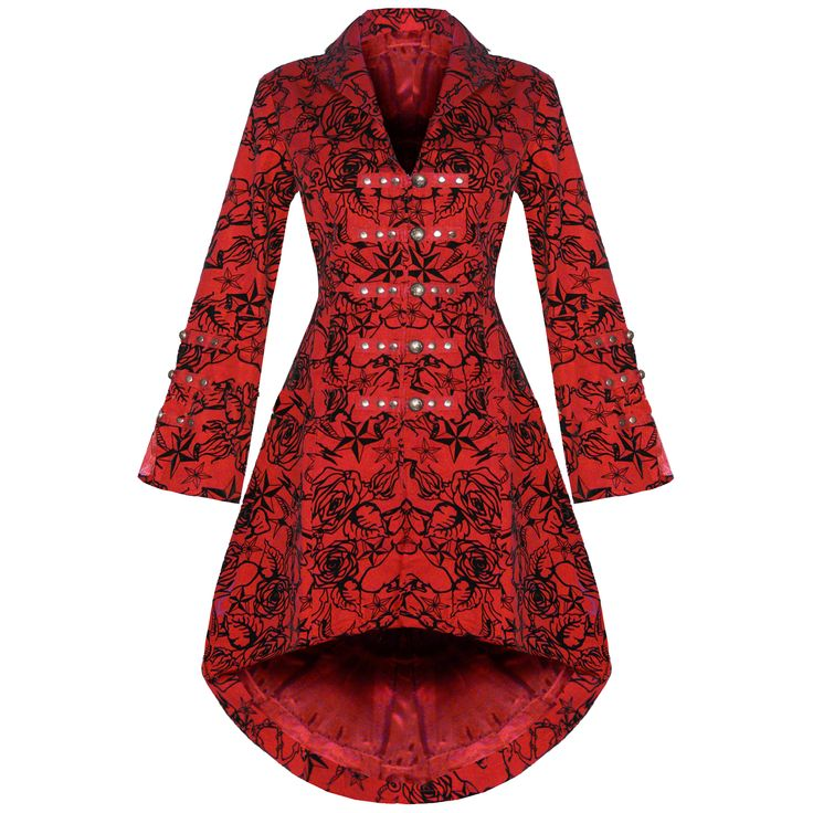 Cappotto Donna Rosso Tattoo Stile Gotico Militare Steampunk Rockabilly Nuovo   eBay http://v.downjackettoparea.com Cannadagoose JACKETS is on clearance sale, the world lowest price. --The best Christmas gift $169
