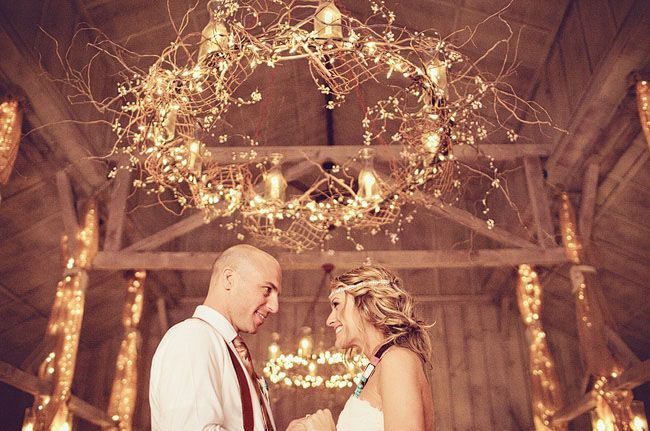 Just a hula hoop....lights and decorative brush, gorgeous chandelier