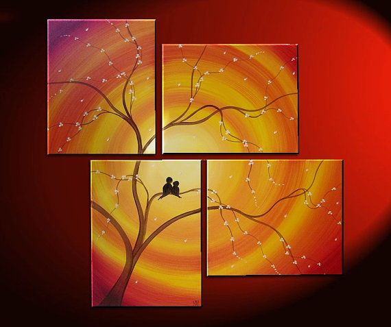 Custom Love Bird Art Orange Painting Cherry Blossom Tree Cream Flowers Asian Style Art Japanese Delicate Branches 47x41