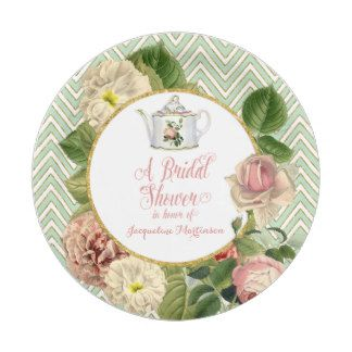 tea party bridal shower chevron stripes rose 7 inch paper plate