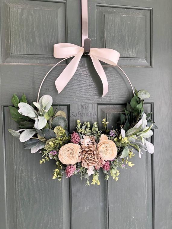 Door wreath, Front door wreath, Spring wreath, Modern wreath, valentine wreath, hoop wreath