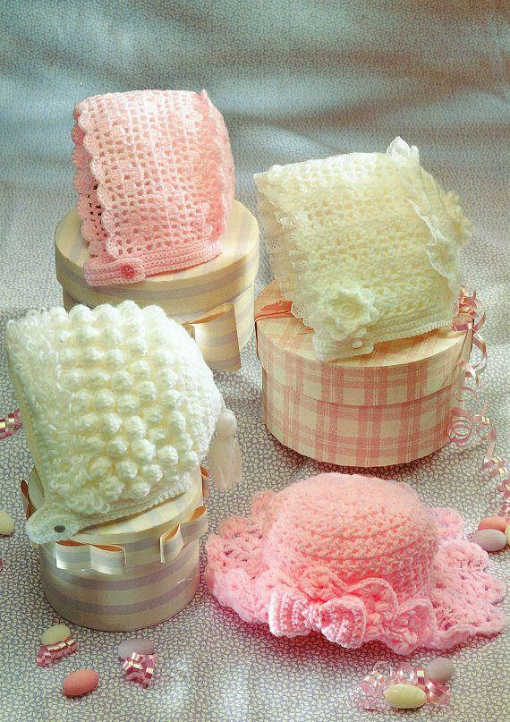 PDF Vintage Baby Girl Bonnet Crochet Pattern Easter Hat Lacy