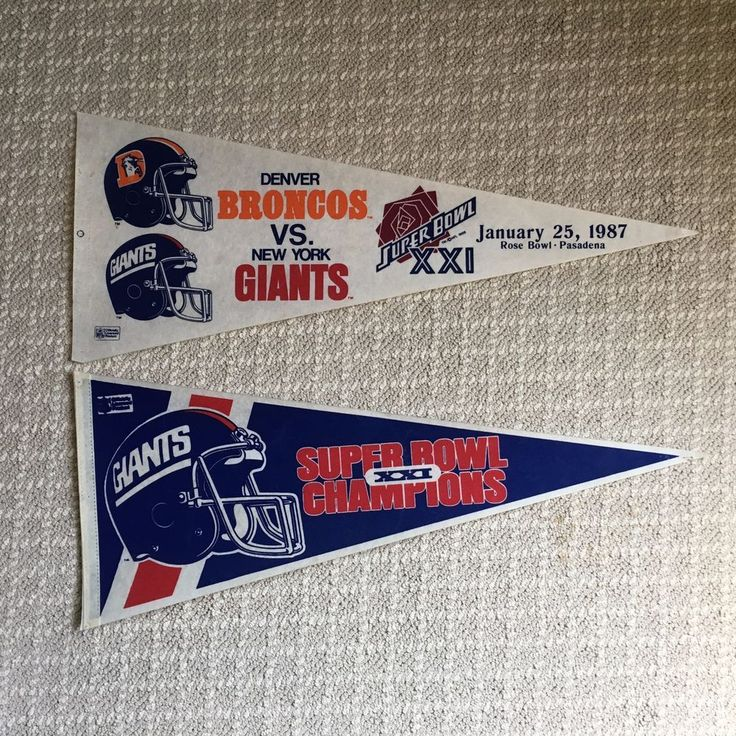 Two New York Giants Super Bowl XXI Pennants 1987 NFL Officially Licensed Product