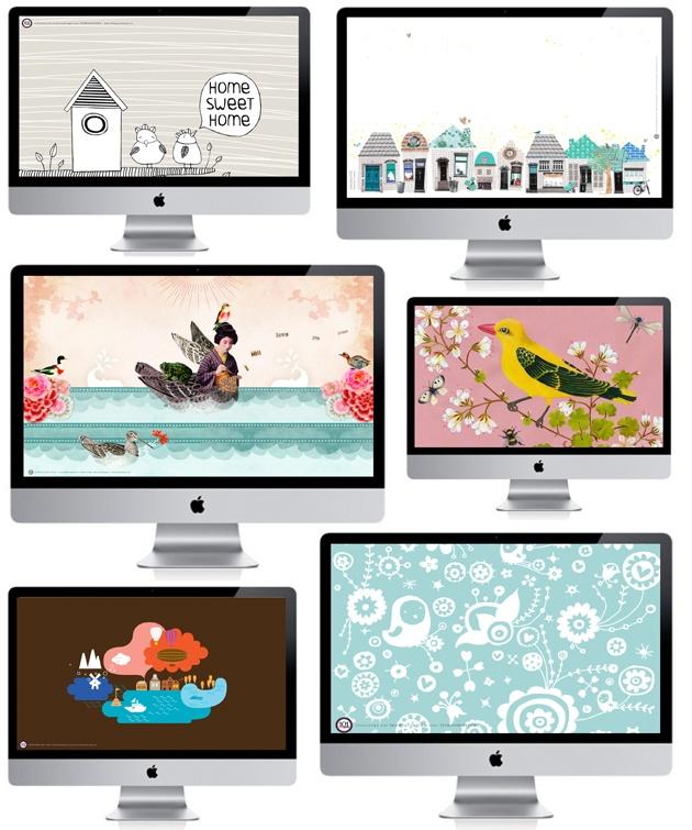 free desktop wallpapers designed for 101Woonideeën by various Dutch illustrators