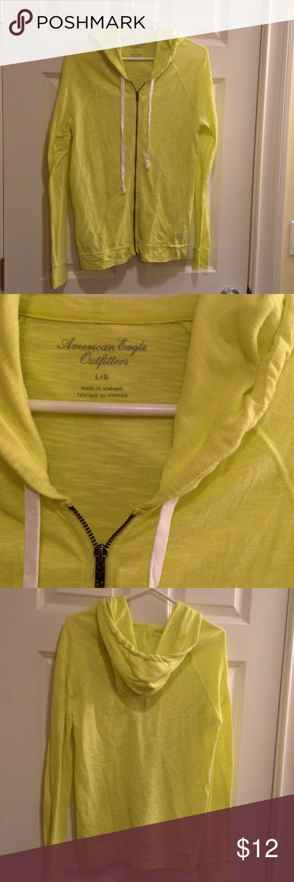 American eagle yellow zip up Bright yellow American eagle zip up hoodie only worn a couple times in great condition! Perfect for casual outfit American Eagle Outfitters Sweaters