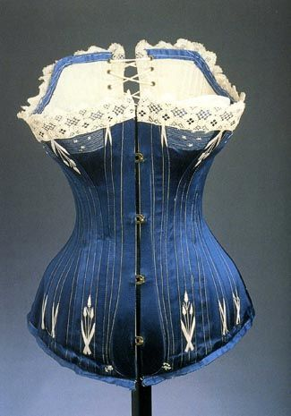 corset in blue, 1870s-80s