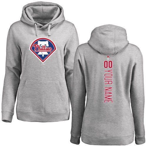 Women's Philadelphia Phillies Ash Personalized Backer Pullover Hoodie