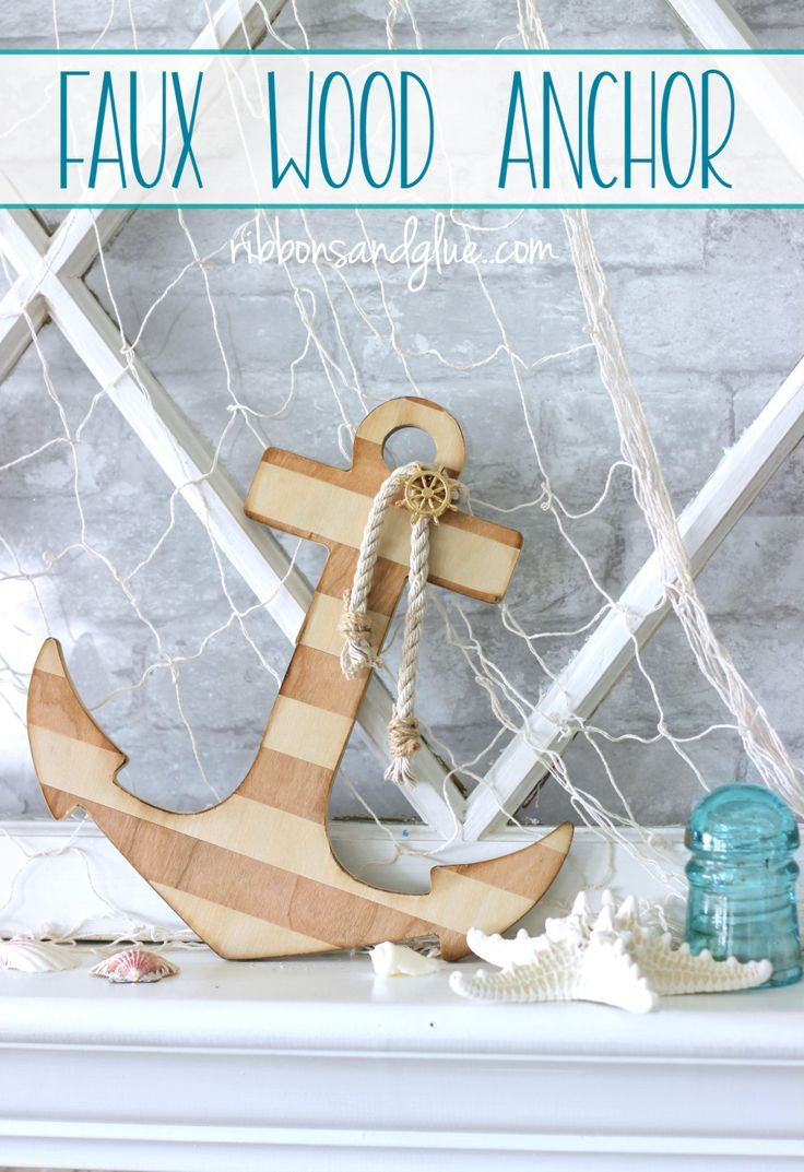 Nautical Faux Wood Anchor made from a chipboard anchor wrapped in wood veneer tape and embellished with nautical rope and button. Easy nautical DIY project.