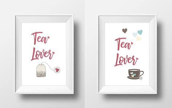 Two Love Prints Tea Lover Home Decor Motivational Poster 25% discount to all our listings in love category and to all our listings in fleurs du mal category, until Valentine's Day! Shop today! Spread love and passion this month ...and everyday! - Visit Kornela Shop   https://www.etsy.com/shop/Kornela