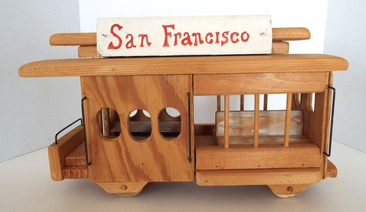"""San Fransisco Trolley Car Hand Crafted Wood Replica Wheels Move  17"""" x 6"""" x 11"""""""