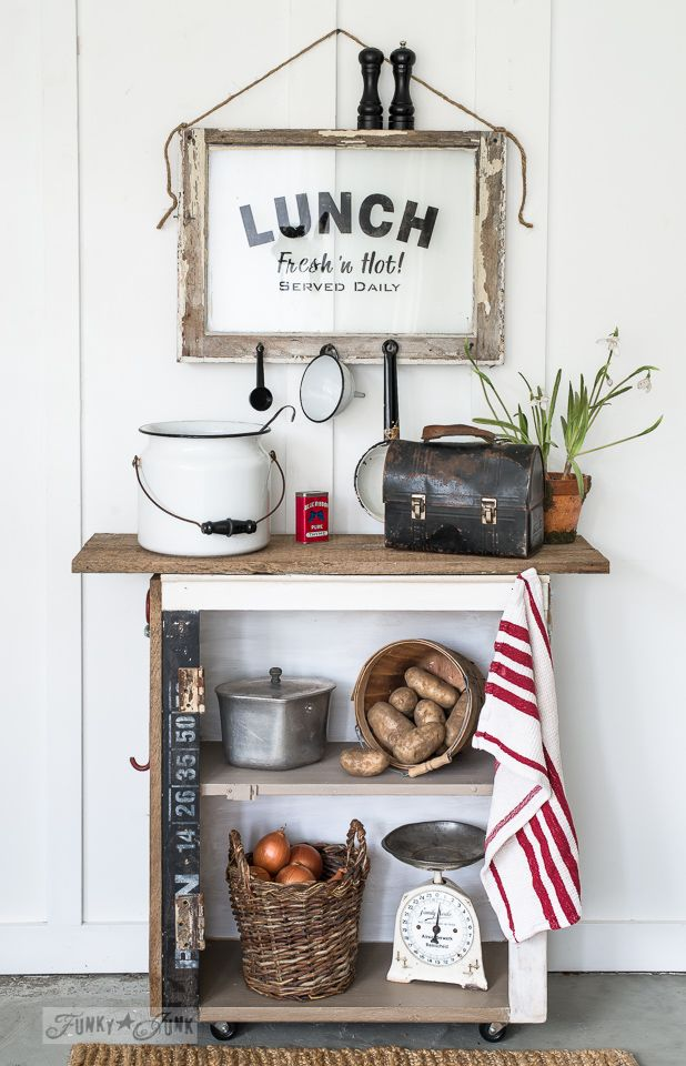 LUNCH sign, with an old window / A secret to getting a true, homey home / funkyjunkinteriors.net