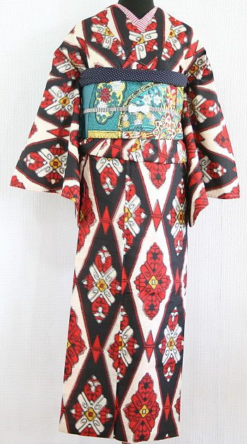 antique, kimono,himenorumi,アンティーク,キモノ,ヒメノルミ,着物 > アンティーク/リサイクル着物 > 銘仙・紬のキモノ(袷) > SALE『でんぱらいん』黒赤黄斜め縞文銘仙袷着物の類似商品