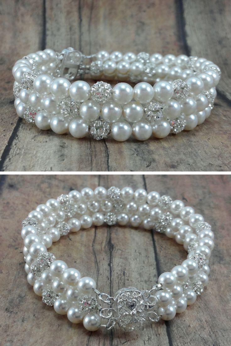 Jackie bracelet: Three strand pearl and rhinestone bridal bracelet // Cuff bracelet // Bride Jewelry // Click now to buy